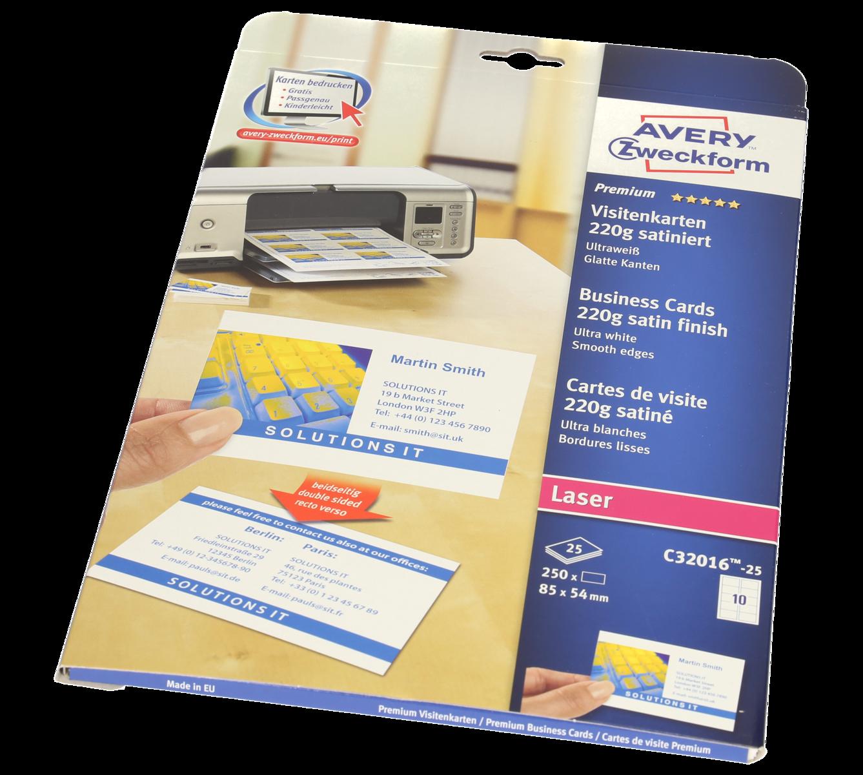 Avery Zweckform Visitenkarten 85 X 54 Mm Satiniert