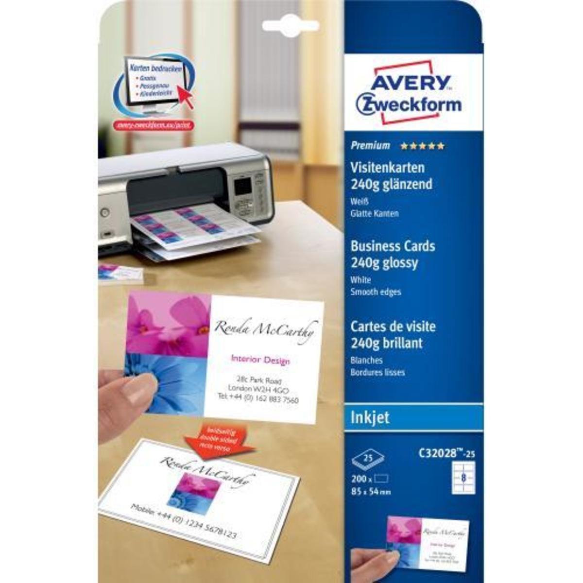 Avery Zweckform Visitenkarten A4 250 G Mâ Hochglanz