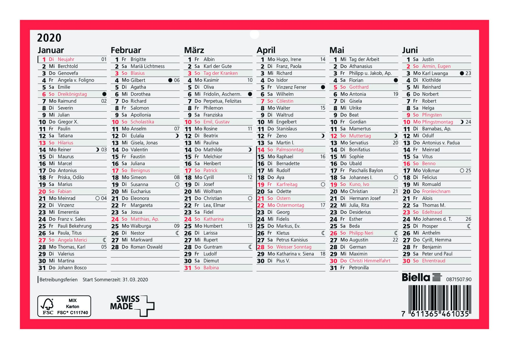 Calendario Tedesco 2020.Biella Calendario 235 X 155 Mm 2020 Tedesco