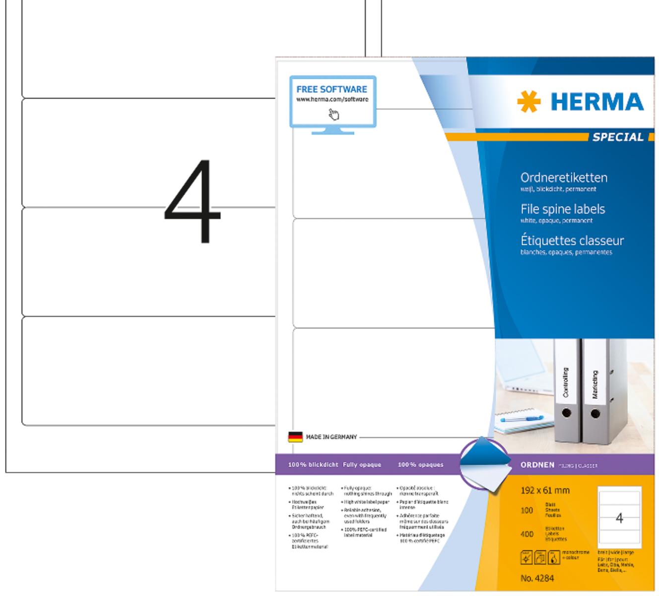 Bianco HERMA Etichette per Raccoglitori Etichette Adesive A4 per Stampante 192 x 61 mm 4 Etichette per Foglio